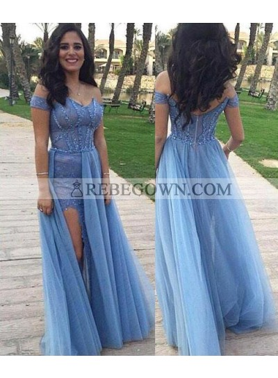 A-Line Off-the-Shoulder Sleeveless Natural Zipper Long Floor length Tulle rebe gown 2020 Blue Prom Dresses