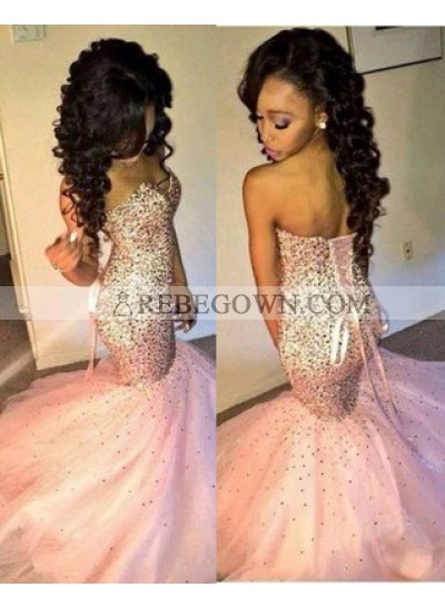 Mermaid Sweetheart Sleeveless Natural Lace-up Sequined Prom Dresses