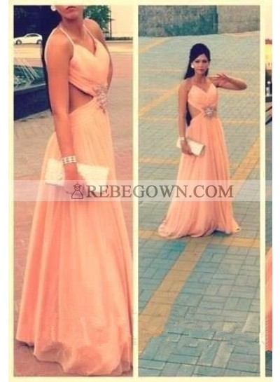 A-Line Spaghetti Straps Sleeveless Natural Backless Prom  Chiffon Prom Dresses