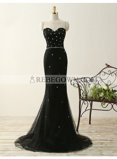 2020 Junoesque Black Beading Sweetheart Mermaid Tulle Prom Dresses