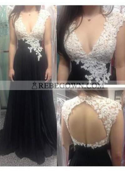 A-Line V-Neck Sleeveless Natural Backless  Chiffon 2021 Junoesque Black Prom Dresses