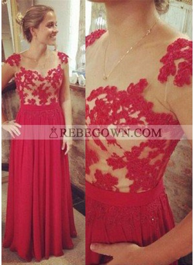 2020 Gorgeous Red A-Line Capped Sleeves Natural Zipper Long Floor length Chiffon Prom Dresses