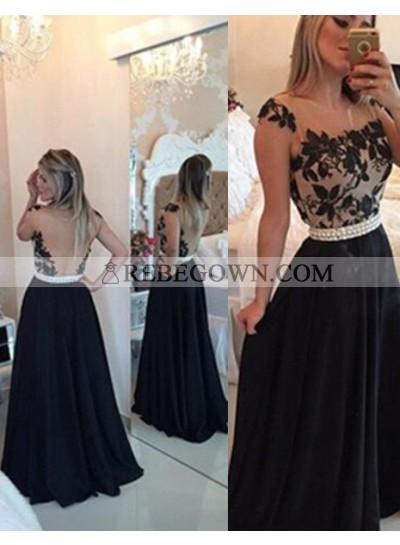 2021 Junoesque Black A-Line Straps Beading Backless Chiffon Prom Dresses