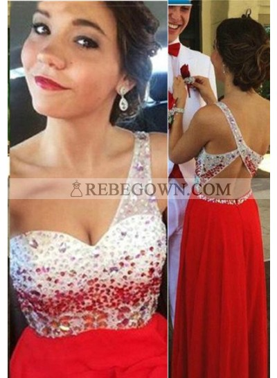 2021 Gorgeous Red Long Floor length A-Line One Shoulder Beading Chiffon Prom Dresses