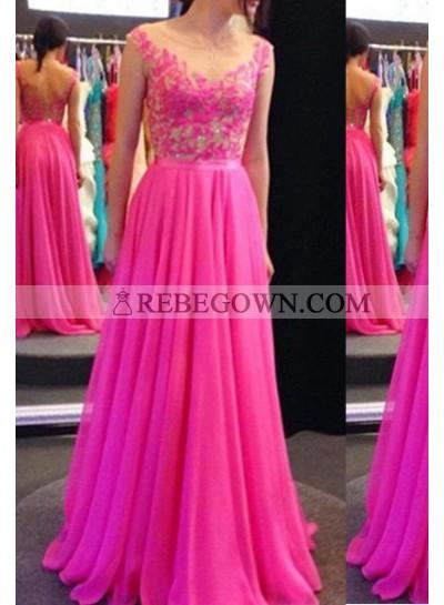 Column/Sheath Sleeveless Long Floor length Chiffon Prom Dresses