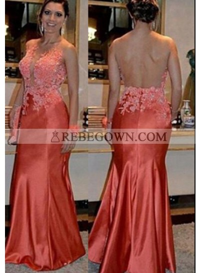 Mermaid Scoop Sleeveless Natural Zipper Long Floor length Stretch Satin Prom Dresses