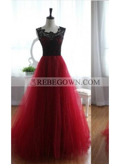 A-Line Notched Sleeveless Empire Long Floor length Tulle Prom Dresses