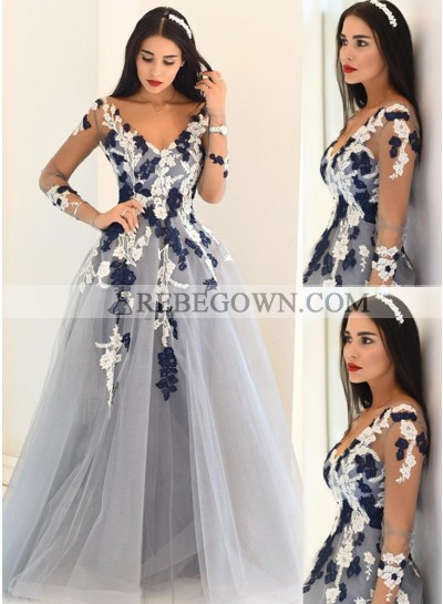 rebe gown 2020 Blue Sheer Sleeves Appliques A-Line Tulle Prom Dresses