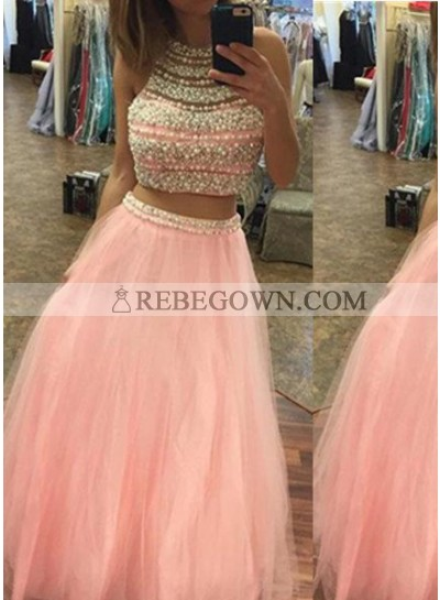 Halter Beading A-Line Tulle Two Pieces Prom Dresses