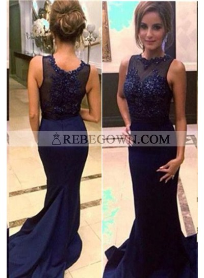 rebe gown 2020 Blue Cheap Prom Dresses Long Floor length Mermaid Embroidery Satin