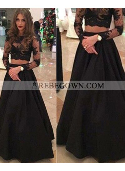2020 Junoesque Black Long Sleeve A-Line Lace Two Pieces Prom Dresses