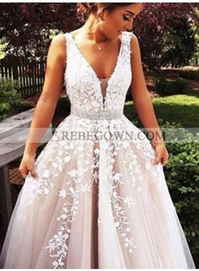 2020 Unique White A-Line V-Neck Sleeveless  Long Floor length Tulle Prom Dresses