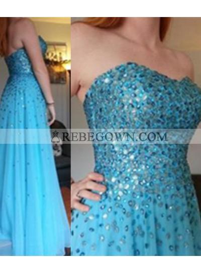 rebe gown 2020 Blue Column/Sheath Sweetheart Sleeveless Long Floor length Chiffon Prom Dresses