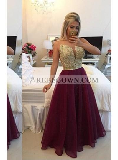 Long Floor length A-Line Long Floor length Chiffon Burgundy Prom Dresses