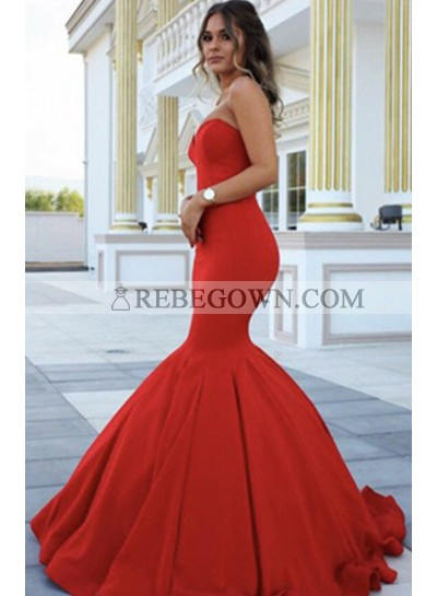 2021 Gorgeous Red Chic Sweetheart Mermaid Satin Prom Dresses