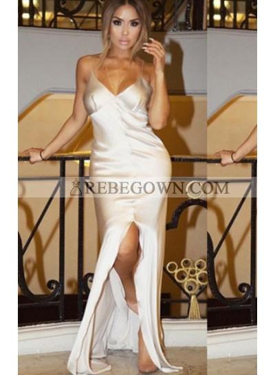 Split Front Long Floor length Column/Sheath Stretch Satin Prom Dresses