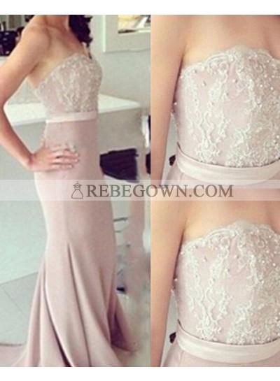 A-Line Strapless Sleeveless Natural Zipper 2020 Glamorous Pink Prom Dresses