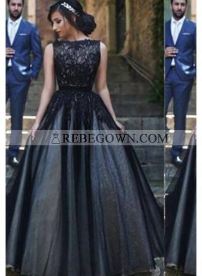 2021 Junoesque Black A-Line Bateau Sleeveless Natural Sweep/Brush Train Tulle Prom Dresses