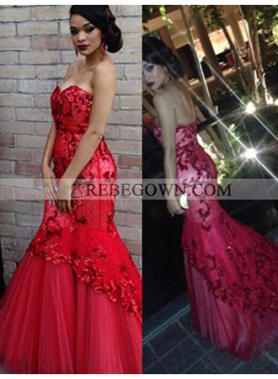 2021 Gorgeous Red Beading Sweetheart Appliquues Mermaid Tulle Prom Dresses