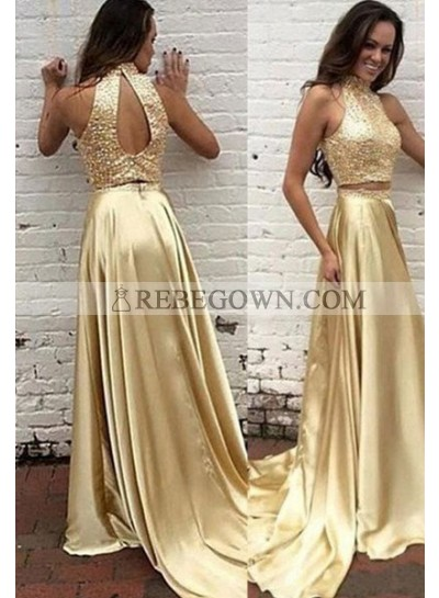 Sequins High Neck Sweep/Brush Train A-Line Satin Gold Prom Dresses