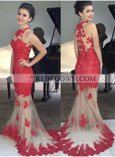 2020 Gorgeous Red Prom Dresses Long Floor length Mermaid Sleeveless Lace