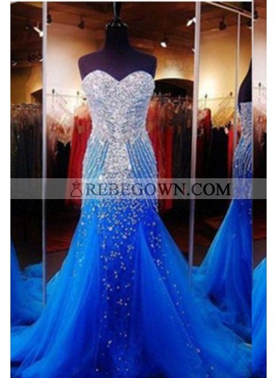 rebe gown 2021 Blue Mermaid Sweetheart Sleeveless Sweep/Brush Train Taffeta Prom Dresses