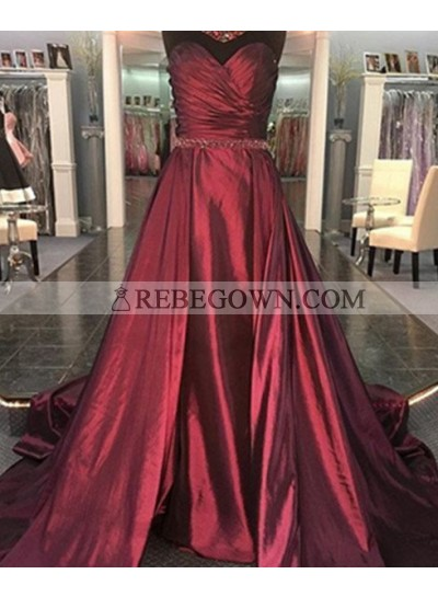 2020 Gorgeous Red Sexy Sweetheart Ruching A-Line Taffeta Prom Dresses