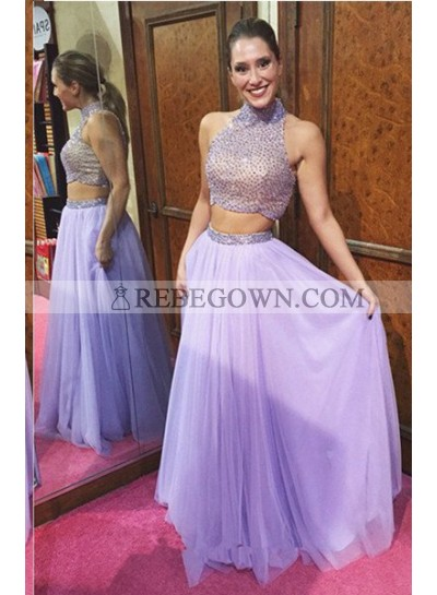 Beading Long Floor length A-Line Two Pieces Chiffon Lilac Prom Dresses
