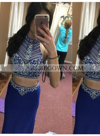 Royal Blue Long Floor length Column/Sheath Halter Sequins Chiffon Prom Dresses