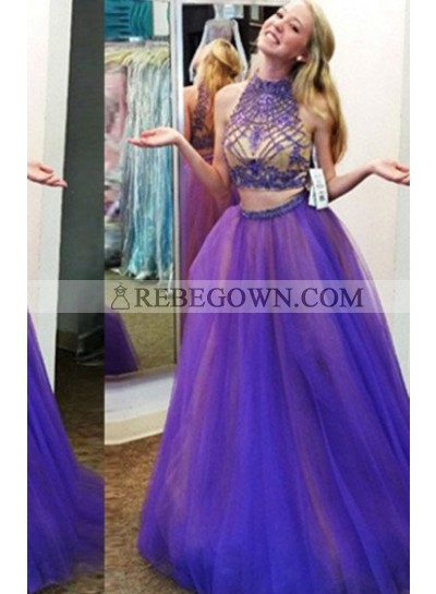 High Neck Beading  A-Line Tulle Two Pieces Prom Dresses