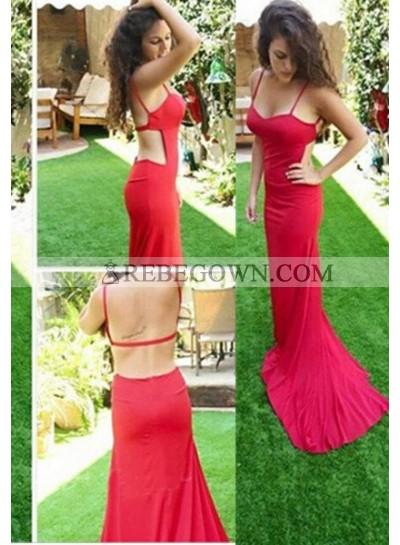2021 Gorgeous Red Column/Sheath Spaghetti Straps Sleeveless Natural Backless Long Floor length Prom Dresses