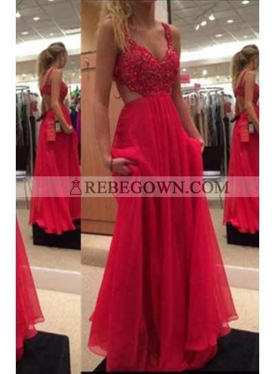 2021 Gorgeous Red A-Line Spaghetti Straps Sleeveless Sweep/Brush Train Chiffon Prom Dresses