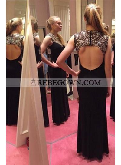 2021 Junoesque Black A-Line Sleeveless Natural Backless Long Floor length Chiffon Beading Prom Dresses