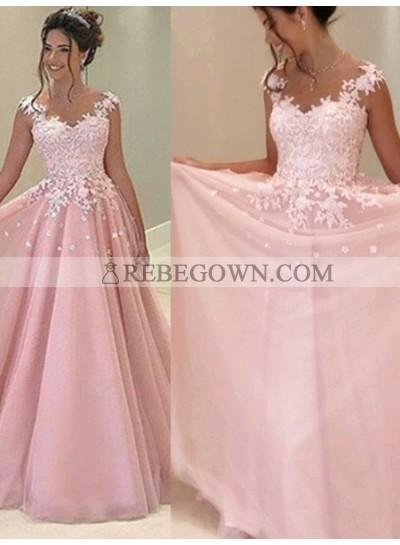 2021 Glamorous Pink Appliques V-Neck A-Line Tulle Prom Dresses