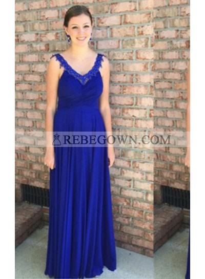 rebe gown 2021 Blue A-Line V-Neck Sleeveless Natural Zipper  Long Floor length Chiffon Prom Dresses