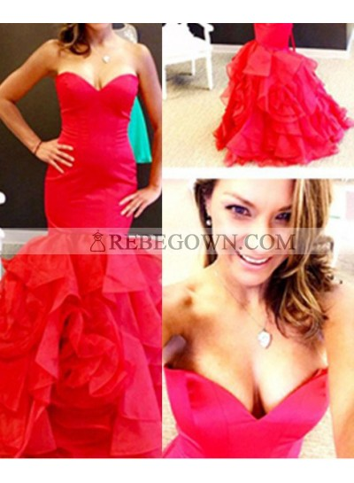 2021 Gorgeous Red Sweetheart Layers Mermaid Organza Prom Dresses