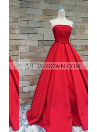 2020 Gorgeous Red Long Floor length A-Line Strapless Long Floor length Satin Prom Dresses