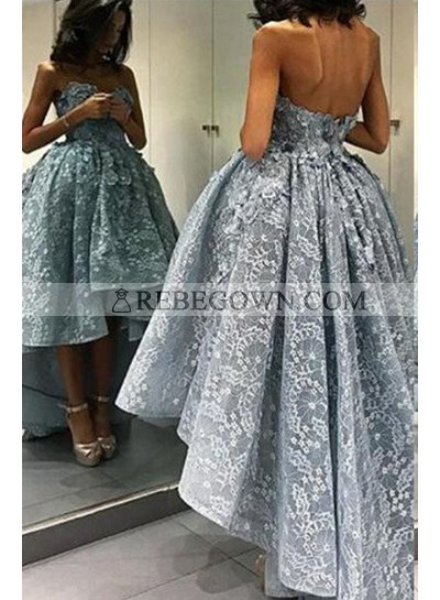 Sweetheart Natural Waist Sleeveless High-Low Lace Prom Dresses