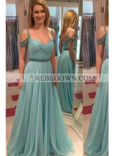 Long Floor length A-Line Spaghetti Straps Chiffon Prom Dresses