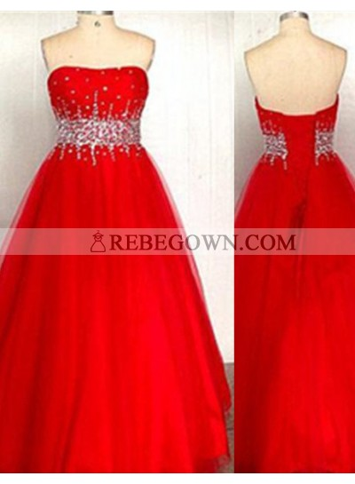 2020 Gorgeous Red A-Line Sweetheart Sleeveless Empire Lace-up Long Floor length Taffeta Prom Dresses