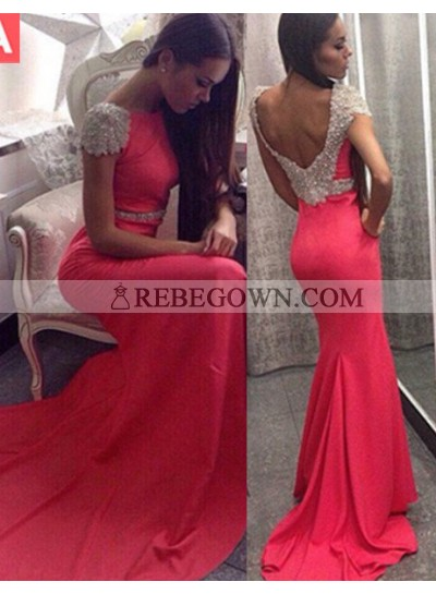 2021 Gorgeous Red Capped Sleeves Crystal Backless Mermaid Satin Prom Dresses