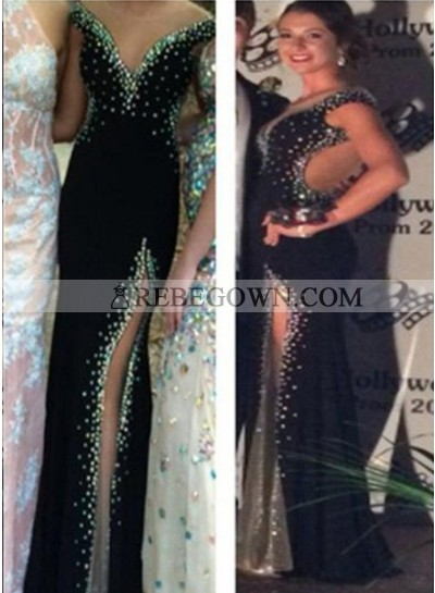 2020 Junoesque Black Long Floor length Column/Sheath V-Neck Sleeveless Chiffon Prom Dresses