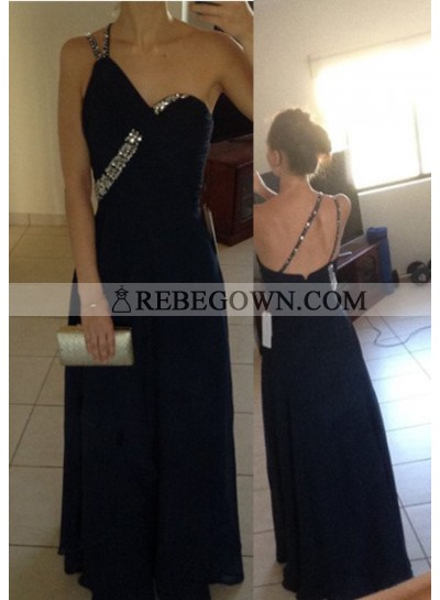 2020 Junoesque Black Crystal Detailing Long Floor length Column/Sheath Chiffon Prom Dresses