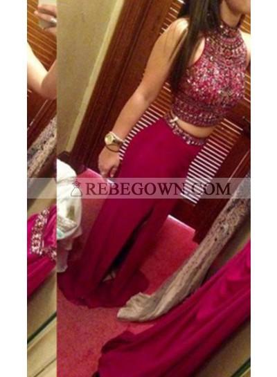 Column/Sheath Jewel Sleeveless Natural Zipper Long Floor length Chiffon Prom Dresses