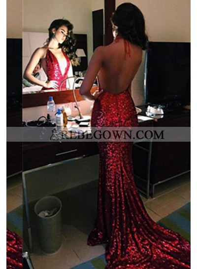 Sexy 2021 Gorgeous Red Sequins Backless Mermaid Prom Dresses