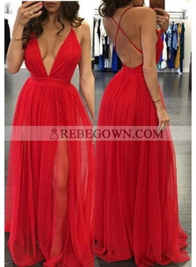 2020 Gorgeous Red Sexy Deep V-Neck A-Line Prom Dresses