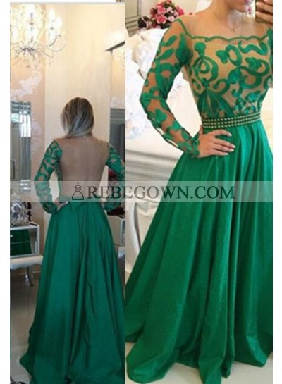 Long Floor length A-Line Square Satin Pearl Detailing  Prom Dresses