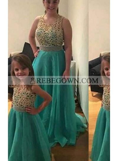 A-Line Scoop Sleeveless Natural Zipper Long Floor length Organza Emerlad Prom Dresses