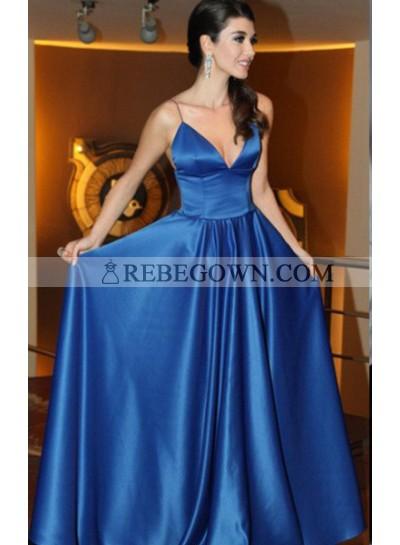 rebe gown 2021 Blue Prom Dresses Spaghetti Straps A-Line Satin