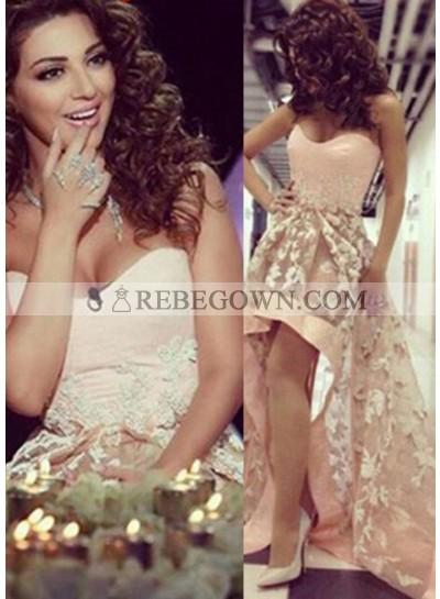 2021 Glamorous Pink A-Line Sweetheart Sleeveless Natural Zipper Asymmetrical Prom Dresses